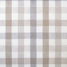 Fallon - Natural - Several different shades of beige and grey making up the checked design for this white hard wearing fabric