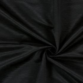 Bamboo - Ebony - Cotton fabric in a very dark shade of brown-black, with short horizontal lines which are ridged