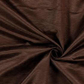 Bamboo - Chestnut - Horizontal lines of different lengths, making up a ridged pattern, on this brown cotton fabric