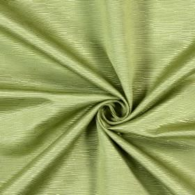 Bamboo - Sage - Light green and white fabric made from cotton, covered with small horizontal ridges of different lengths