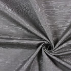 Bamboo - Graphite - Silvery grey ridged lines of different short lengths completely covering this fabric made from cotton