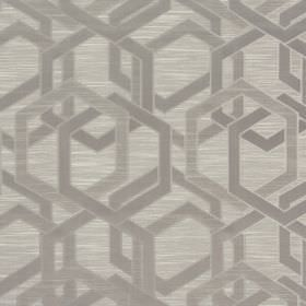 Katrina - Dusk - Polyester and cotton blend fabric in light brown, with a geometric design in a similar shade of brown but with a sheen