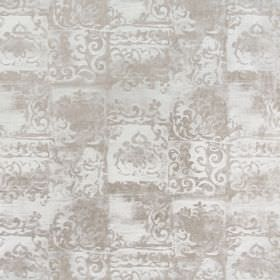 Florentine - Chartreuse - Light brown-grey and off-white coloured fabric featuring patchy colours & ornate designs on viscose-cotton blend f