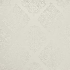 Adella - Pearl - Two very similar shades of white making up polyester-cotton blend fabric with a large, repeated, ornate pattern