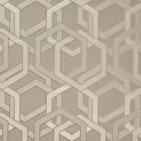 Katrina - Burnished - Coffee coloured polyester-cotton blend fabric, with overlapping geometric shapes in warm cream with a slight sheen