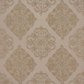 Adella - Burnished - Ornate brown-brass patterns made up of curved lines on a light brown coloured polyester-cotton blend fabric background