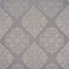 Adella - Taupe - Slightly metallic cream coloured lines making up large ornate patterns on light grey fabric made of polyester and cotton