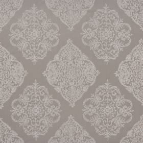 Adella - Dusk - Polyester and cotton blended together into a warm brown coloured fabric with an ornate, detailed metallic pewter pattern