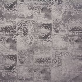 Florentine - Taupe - Patchy colours and ornate shapes making up a viscose-cotton blend fabric in several different shades of dark grey