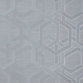 Katrina - Sterling - Polyester-cotton blend fabric featuring an overlapping geometric design in 2 shades of grey, one with a metallic finish