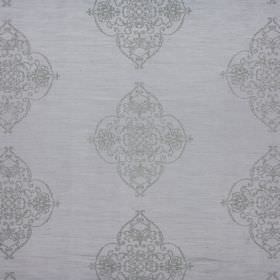 Catherine - Sterling - Two similar shades of pewter-grey making up 100% polyester fabric with large, repeated, ornate patterns