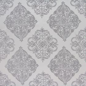 Adella - Sterling - Ornate silver designs patterning a white polyester-cotton blend fabric background