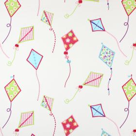 Sky High - Tropical - Off-white 100% cotton fabric scattered with bright kites which are plain, checked and patterned in pinks and blues