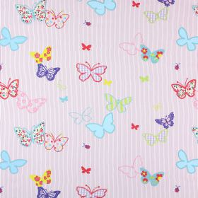 Butterfly - Tropical - Multicoloured plain, patterned and checked butterflies in different sizes on pink and white striped 100% cotton fabri