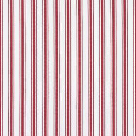 Deck - Red - Dark red stripes running vertically down a background of 100% cotton fabric in a very pale shade of grey-white