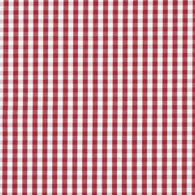 Captain - Red - Dark red and white 100% cotton fabric with a small, simple pattern of checks