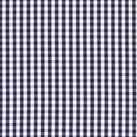 Captain - Marine - Checked 100% cotton fabric in very dark grey and white
