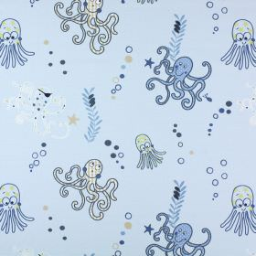Octopus - Denim - Octopus print 100% cotton fabric with patterns, bubbles and seaweed in various different shades of blue