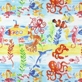 Under The Sea - Marine - Under the sea themed 100% cotton fabric with seaweed, octopuses, fish, seahorses and crabs in red, orange and blue