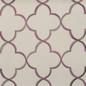 Agadir - Mulberry - Mulberry purple classic pattern on grey fabric
