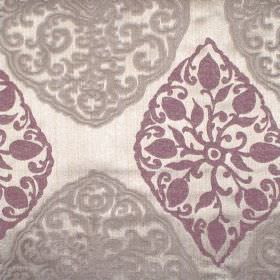 Tarfaya - Mulberry - Mulberry purple classic pattern on champagne fabric