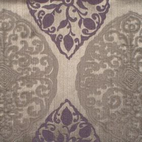 Tarfaya - Amethyst - Amethyst purple classic pattern on champagne fabric