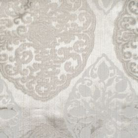 Tarfaya - Linen - Linen coloured classic pattern on silver fabric