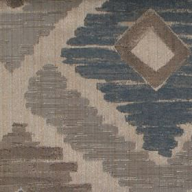 Meknes - Denim - Denim blue diamond patterned fabric