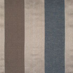 Zagora - Denim - Denim blue and gold striped fabric