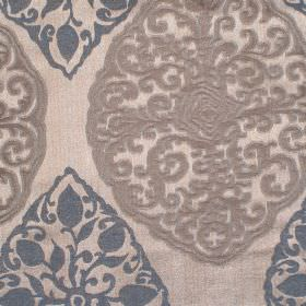 Tarfaya - Denim - Denim blue classic pattern on sandy fabric