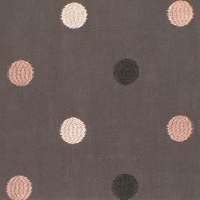 Fez - Ash - Ochre dots on ash brown fabric