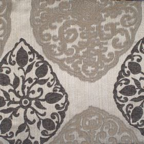 Tarfaya - Ash - Ash brown classic pattern on light grey fabric