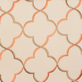 Agadir - Amber - Amber orange classic pattern on sandy fabric
