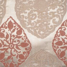 Tarfaya - Amber - Amber orange classic pattern on champagne fabric
