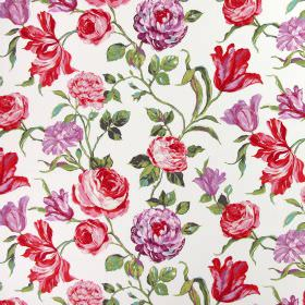 Portia - Geranium - White cotton fabric printed with flowers in shades of purple-pink and light red, with realistic green leaves
