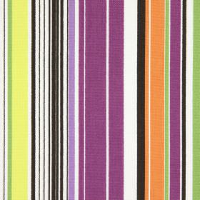 Allegra - Cassis - Brightly striped cotton fabric including dark pink, lilac, light green, cream, white, orange and dark brown