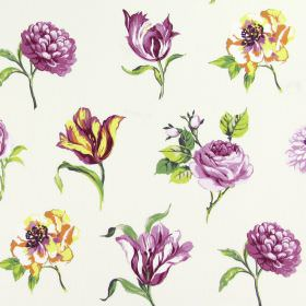 Juliette - Cassis - Individual purple and white flowers of different types, printed with some orange and green, on white cotton fabric