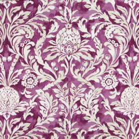 Ophelia - Cassis - Large white leafy, floral patterns printed on a bright purple-pink cotton fabric background