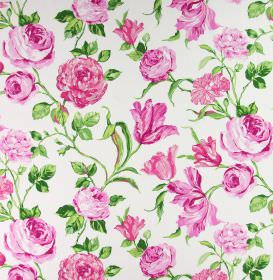 Portia - Peony - A realistic floral pattern in shades of bright pink and green on fabric made from white cotton