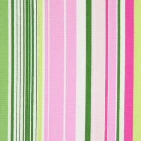 Allegra - Peony - Fabric made from striped cotton in white, with dark and light shades of both pink and green