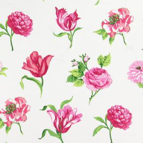 Juliette - Peony - A pink floral design with different varieties of flowers, with green leaves on a background of white cotton fabric
