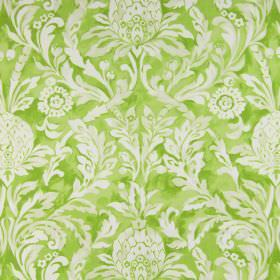 Ophelia - Apple - Bright, apple green coloured cotton fabric with a large, white, leafy pattern