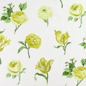 Juliette - Mimosa - Yellow and cream coloured flowers printed in rows on fabric made from white cotton