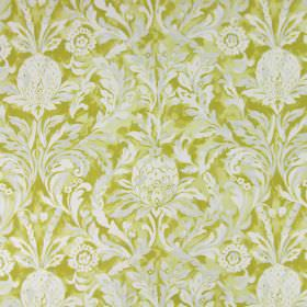 Ophelia - Mimosa - Leafy, floral patterns which are large and white printed on fabric made from cotton in a dark yellow colour