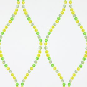 Romany - Mimosa - Dots in different shades of green making up wavy lines on this very pale grey coloured cotton fabric