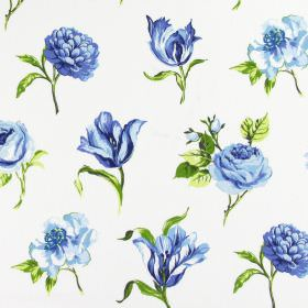 Juliette - Indigo - White cotton fabric printed with individual flowers of different types, along with green leaves
