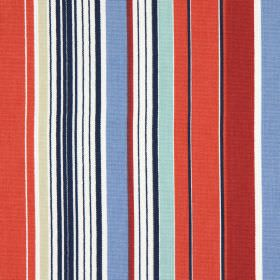 Allegra - Ruby - Striped cotton fabric in multiple colours, including coral, cobalt blue, white and cream