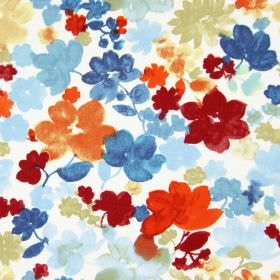 Cassandra - Ruby - A printed floral pattern in shades of blue, red and orange, on a white fabric background made from cotton
