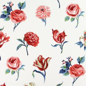 Juliette - Ruby - Cotton fabric in white as a background for a pattern of rows of different red-pink flowers with blue leaves