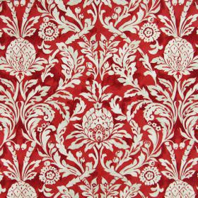 Ophelia - Ruby - Red cotton fabric printed with large, white, leafy swirl designs which also include florals